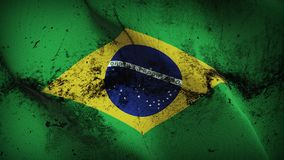 Brazil grunge dirty flag waving on wind. Brazilian background fullscreen grease flag blowing on wind. Realistic filth fabric texture on windy day Royalty Free Stock Photography
