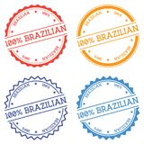 100% Brazilian badge isolated on white background. Flat style round label with text. Circular emblem vector illustration Stock Photography
