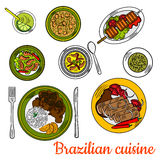 Brazilian barbeque dinner with lime cocktail icon. Nutritious brazilian cuisine sketch with colorful symbols of traditional beef picanha skewer, pork and bean vector illustration
