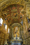 Brazilian barroque church. Interior of the Third Order of the Church of St. Francis of Penance in the convent of St. Anthony Stock Image