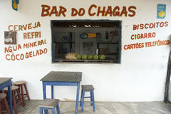 Brazilian Beach Bar with Coconuts on Counter Royalty Free Stock Photography