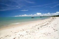 Brazilian beach coast on a sunny day in Corumbau, Bahia, Brazil. stock photo