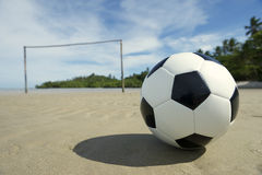 Brazilian Beach Football Pitch with Soccer Ball Royalty Free Stock Photos