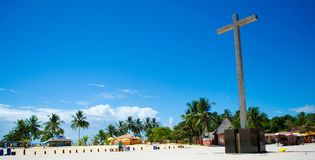 Brazilian beach porto seguro in bahia. Red Crown beach in Brazil in Porto Seguro in Bahia. The beach has a beautiful sea with beautiful colors. This cross marks Stock Photography