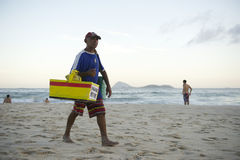 Brazilian Beach Vendor Selling Empadas Ipanema Rio Royalty Free Stock Image