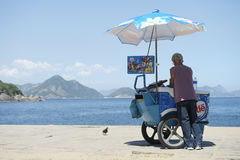 Brazilian Beach Vendor Selling Ice Cream Ipanema Rio Royalty Free Stock Image