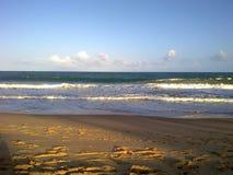 Brazilian Beach, Waves and Sand. Beautiful picture of Brazilian Beach with Waves, sand and Blue Sky stock image
