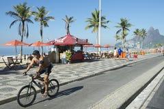 Brazilian Bike Rider Ipanema Rio Stock Image