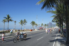 Brazilian Bike Rider Ipanema Rio Royalty Free Stock Images