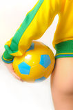 Brazilian Bikini Bottom model holding soccer ball Stock Images