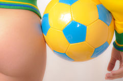 Brazilian Bikini Bottom model holding soccer ball Royalty Free Stock Images