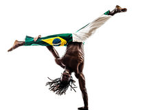 Brazilian  black man dancer dancing capoeira Royalty Free Stock Photos