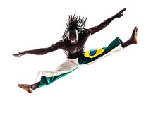 Brazilian  black man dancer dancing capoiera Stock Photo