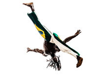 Brazilian  black man dancer dancing capoiera. One brazilian  black man dancer dancing capoiera on white background Stock Images