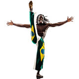 Brazilian  black man dancer dancing capoiera. One brazilian  black man dancer dancing capoiera on white background Royalty Free Stock Photography