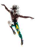 Brazilian  black man dancer dancing jumping  silhouette. One brazilian black man dancer dancing jumping on white background Royalty Free Stock Photo