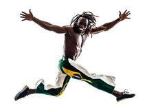 Brazilian  black man running jumping Royalty Free Stock Photos