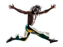 Brazilian  black man running jumping. One brazilian  black man running jumping on white background Royalty Free Stock Photos