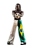 Brazilian  black man soccer player holding showing football. One brazilian black man soccer player holding showing football  on white background Royalty Free Stock Images