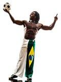 Brazilian  black man soccer player holding showing football Royalty Free Stock Photos