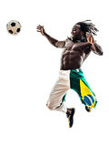 Brazilian  black man soccer player. One brazilian  black man soccer player  on white background Royalty Free Stock Image