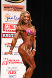 Glamorous Physique. Brazilian bombshell Juliana Malacarne poses during her performance routine at the 2012 IFBB New York Physique Championships.   Her form Stock Photography