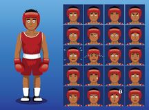 Brazilian Boxer Cartoon Emotion Faces Vector Illustration Stock Image