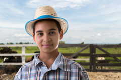 Brazilian boy on caipira costume on the farm.  Royalty Free Stock Photo
