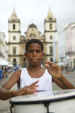 Brazilian Boy Standing Drumming Pelourinho Salvador Royalty Free Stock Images