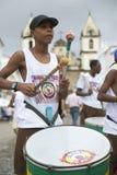 Brazilian Boy Standing Drumming Pelourinho Salvador. SALVADOR, BRAZIL - OCTOBER 15, 2013: Group of young Brazilians stand drumming in a group on a plaza in the Stock Images