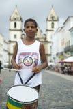 Brazilian Boy Standing Drumming Pelourinho Salvador Royalty Free Stock Image