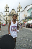 Brazilian Boy Standing Drumming Pelourinho Salvador Royalty Free Stock Image