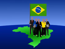 Brazilian business team on map Stock Photos