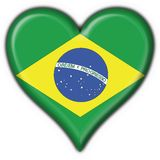 Brazilian button heart  flag. Brazilian button flag heart shape Stock Images