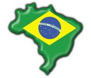 Brazilian button map flag. Brazilian button flag map shape Royalty Free Stock Images