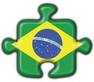 Brazilian button puzzle flag. Brazilian button flag puzzle shape Stock Photography