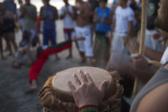 Brazilian Capoeira Circle with Musicians and Spectators Royalty Free Stock Photos