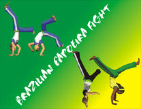 Brazilian Capoeira poster. Illustration of acrobatic people on traditional Brazilian Capoeira poster on green and yellow background Royalty Free Stock Photo