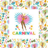 Brazilian carnival background vector illustration. Royalty Free Stock Image