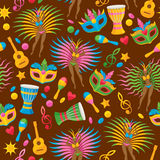 Brazilian carnival background vector illustration. Brazilian carnival background colorful vector illustration. Brazil symbols icons seamless pattern. Guitar Royalty Free Stock Photo