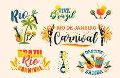Brazilian Carnival. Big set of vector emblems. Royalty Free Stock Photography