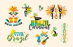 Brazilian Carnival. Big set of vector emblems. Stock Image