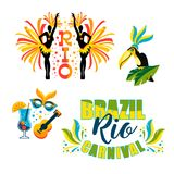 Brazilian Carnival. Big set of vector emblems. Design elements Royalty Free Stock Photo