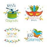Brazilian Carnival celebration emblem, label or badges with drum. royalty free illustration