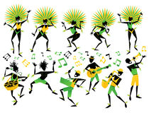 Brazilian Carnival Dancers and Musicians Royalty Free Stock Photos