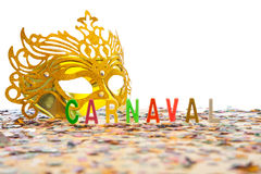 Brazilian Carnival - Golden mask Stock Images