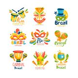 Brazilian Carnival logo design set, bright fest.ive party banners vector Illustration on a white background. Brazilian Carnival logo design set, bright festive Royalty Free Stock Images