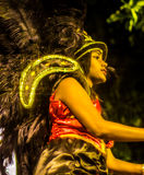 Brazilian Carnival. Parade of the Ita Lions samba school on the avenue in Ilhabela, Brazil, 02/28/2017. Artistic photo with select stock photography