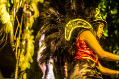 Brazilian Carnival. Parade of the Ita Lions samba school on the avenue in Ilhabela, Brazil, 02/28/2017. Artistic photo with select. Ive focus and background blur Stock Image