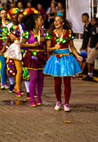 Brazilian Carnival. Parade of the Ita Lions samba school on the avenue in Ilhabela, Brazil, 02/28/2017. Artistic photo with select. Ive focus and background blur Royalty Free Stock Images